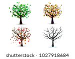 four season trees isolated ... | Shutterstock .eps vector #1027918684