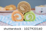 three color of swiss roll | Shutterstock . vector #1027920160