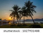 silhouette of coconut trees... | Shutterstock . vector #1027931488
