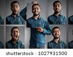 man with different emotions | Shutterstock . vector #1027931500