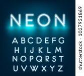 neon light alphabet font.... | Shutterstock .eps vector #1027931869