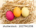 top view of easter nest with...   Shutterstock . vector #1027941358