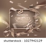 grand opening beige banner with ... | Shutterstock .eps vector #1027942129