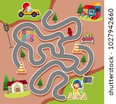 maze game template with kid in... | Shutterstock .eps vector #1027942660