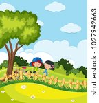 park scene with boy and girl... | Shutterstock .eps vector #1027942663