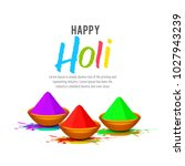 happy holi vector illustration . | Shutterstock .eps vector #1027943239