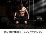 muscular man workout with... | Shutterstock . vector #1027944790