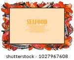seafood illustrations framed as ... | Shutterstock .eps vector #1027967608