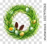easter wreath of green grass... | Shutterstock .eps vector #1027970263