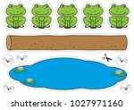 cartoon frogs  log  pool and... | Shutterstock .eps vector #1027971160