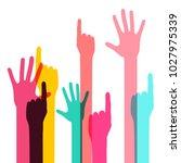 colorful vector human hands... | Shutterstock .eps vector #1027975339