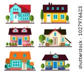 vector buildings set. flat... | Shutterstock .eps vector #1027976623