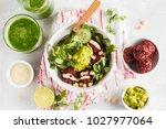 green vegetable vegan salad... | Shutterstock . vector #1027977064
