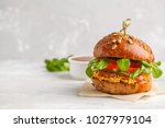 vegan lentils burger with... | Shutterstock . vector #1027979104