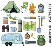 set of travel equipment.... | Shutterstock .eps vector #1027981543