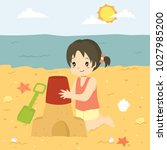 happy girl making a sand castle ... | Shutterstock .eps vector #1027985200