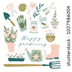 garden tool set. vector... | Shutterstock .eps vector #1027986004