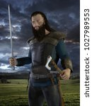 viking warrior with axe and... | Shutterstock . vector #1027989553