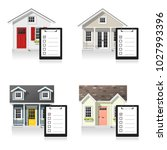 set of small houses and...   Shutterstock .eps vector #1027993396
