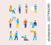 vector set of cartoon... | Shutterstock .eps vector #1027996390