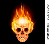 Raster version. Scary skull on fire. Illustration on black background - stock photo