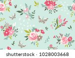 seamless pattern with flowers... | Shutterstock .eps vector #1028003668
