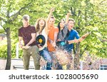 group of happy excited friends...   Shutterstock . vector #1028005690