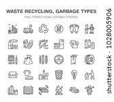 recycling flat line icons.... | Shutterstock .eps vector #1028005906