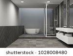 interior of a gray bathroom... | Shutterstock . vector #1028008480