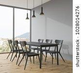 long black dining room table...   Shutterstock . vector #1028014276