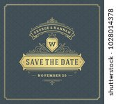 wedding save the date... | Shutterstock .eps vector #1028014378