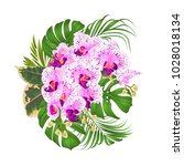 bouquet with tropical flowers ... | Shutterstock .eps vector #1028018134