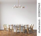 long white dining room table... | Shutterstock . vector #1028025463