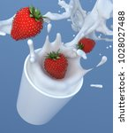 strawberry with milk in cup... | Shutterstock . vector #1028027488