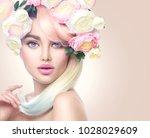 spring woman. beauty summer... | Shutterstock . vector #1028029609