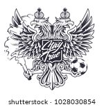 russian national symbol two... | Shutterstock .eps vector #1028030854