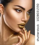 fashion art golden skin woman... | Shutterstock . vector #1028031550