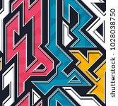 graffiti geometric seamless...   Shutterstock .eps vector #1028038750