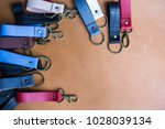 genuine leather color keychain... | Shutterstock . vector #1028039134