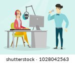 young caucasian white dj... | Shutterstock .eps vector #1028042563