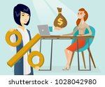 young asian woman with percent... | Shutterstock .eps vector #1028042980