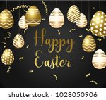 happy easter template with gold ...   Shutterstock .eps vector #1028050906