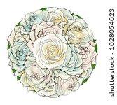 vector sketch white rose flower ... | Shutterstock .eps vector #1028054023