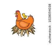 vector flat hand drawn brown...   Shutterstock .eps vector #1028054038