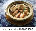 thai soup noodle with seafood... | Shutterstock . vector #1028055883