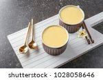 ramekins with tasty vanilla... | Shutterstock . vector #1028058646