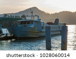 ferry parking with sea and... | Shutterstock . vector #1028060014