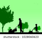 son helps father mow grass  one ... | Shutterstock .eps vector #1028060623