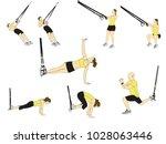men and women doing trx... | Shutterstock .eps vector #1028063446
