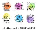 vector set of hand drawn summer ... | Shutterstock .eps vector #1028069350
